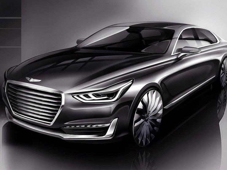 Hyundai опубликовал первые изображения Genesis G90 автомобили