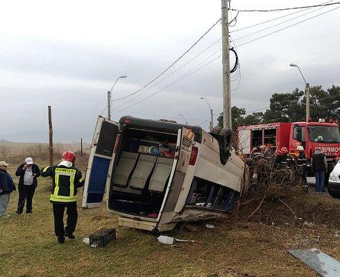 ВРумынии перевернулся автобус сдетьми